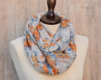 Gift for Her Orange Roses Infinity Scarf Roses Scarf Surprise Stylish Gift Roses Scarf Infinity Scarf Gift Ideas For Her Fashion Shawl