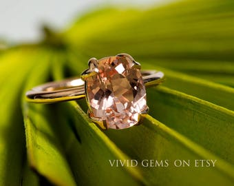 Peachy Pink Oval Cut Morganite Rose Gold Ring, Tulip Solitaire Engagement Ring