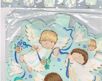 Unopened, Cute Vintage Amscan Baby Shower Banner,  8 Ft  (2.43 M) Baby Angels, Doves, Baskets, Baby Rattles, String Between Each Section