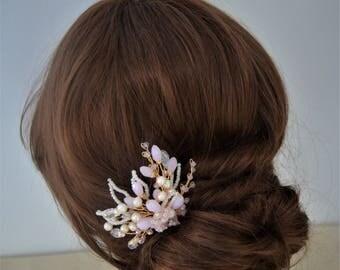 Bridal hair pin, gold and blush pink freshwater pearl hair pin, bridesmaid hair piece
