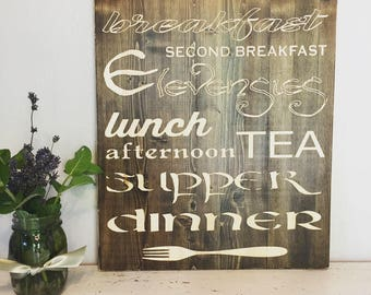 Wood signs- Second breakfast-Tolkien (CNC carved)