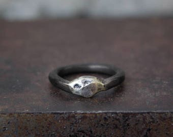 Round sterling silver band ring with a rough signet. Oxidized or natural band. Hand crafted.