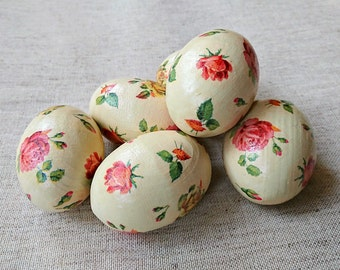 Easter eggs set of six decoupage wooden eggs Shabby chic Easter decorations Old country roses floral decor Eco friendly Easter basket gift