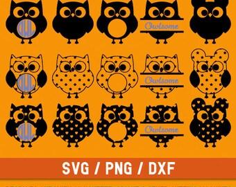 Owl svg, Owl cut file, Owl monogram svg, Owl Silhouette, Funny Owl Ears svg,  owl svg file, Black Owl svg, Owl digital, Owl bundle cvg, png