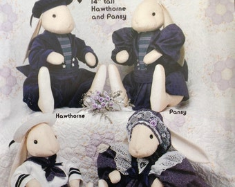 Victorian Baby Bunnies, vintage baby bunnies, vintage bunny pattern, bunnies in Victorian clothes, Gooseberry Hill, 12 and 14 inch bunnies