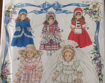 Simplicity doll dress patterns, vintage doll clothes pattern, bridal gown for 16 or 18 inch doll, Victorian Caroler outfit