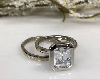 Emerald Cut Forever One Moissanite Contemporary Solitaire Engagement Wedding Anniversary Ring 14k White Gold #5430