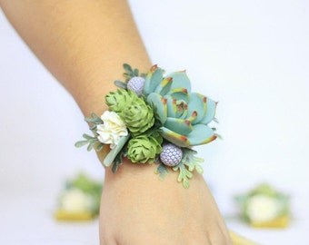 Succulent corsage wedding corsage wrist bridal bouquet wedding accessories bridesmaids clay flowers, bracelets wedding hop, greenery corsage