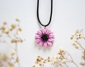 Purple Daisy Pendant, Handmade Polymer Clay Necklace Charm, Made in Australia, Gift for Her, Flower Jewellery, Handmade Jewelry, Birthday