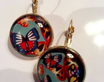 Original earrings ethnic earrings chic vintage colorful Butterfly
