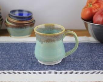 Porcelain Wheel Thrown Ceramic Mug in Mint Glaze. Pottery, coffee, tea, mug, ceramic, cup, stein, drink ware, handmade