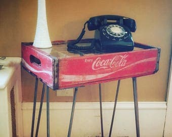 Upcycled Reclaimed Vintage Coca Cola Soda Crate End Table / Sofa Table