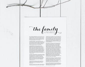 The Family: A Proclamation to the World | LDS Printable Digital Download Family Proclamation Print | Latter Day Saints LDS Artwork
