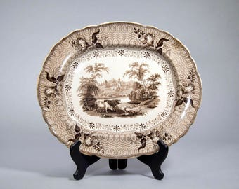 19th Century English G Phillips Brown and White Transfer Ware Staffordshire Platter 'Park Scenery' [CO/SK03]