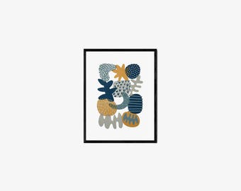 Abstract colorful screen-printed art