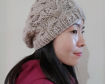 Cable Knit Slouchy Beanie in Beige