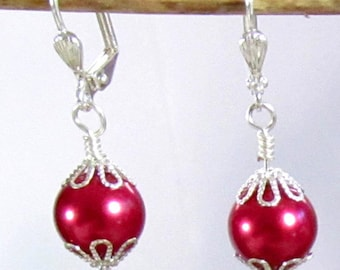 Fuchsia Glass Pearls & Silver Dangle Earrings, Christmas or Valentine Dangle Earrings, Red Glass Pearls and Silver Fancy Dangle Earrings,