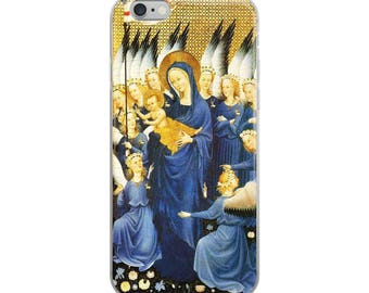 Medieval iPhone Case fine art painting with angels, Virgin Mary, Christ child, in gold  and blue (Wilton diptych)