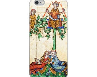 Medieval iPhone case, unusual Middle Ages illuminated manuscript, with King cupid, lovers, green vines and red arrows