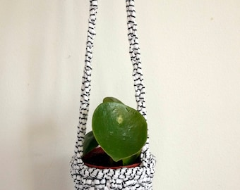 crochet plant hanger, black and white homewares, small indoor planter, houseplants, hanging basket, pegboard accessory