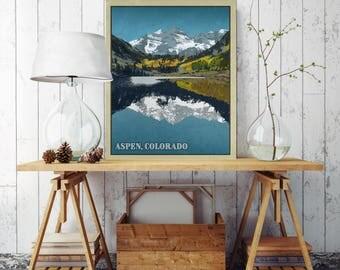 Aspen Colorado Canvas, Maroon Bells Colorado Illustration, Vintage Poster, Canvas Print, Canvas Wall Decor, Colorado Wall Decor, Canvas Art