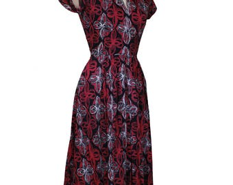 1940's Hand Made Printed Day Dress - Size 6/8