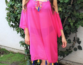 Floral Pink boho beach cover up, caftan, handmade,resort wear, beach wear,swimsuit coverup, Beach coverups, tunic, bohemian chic, kaftan