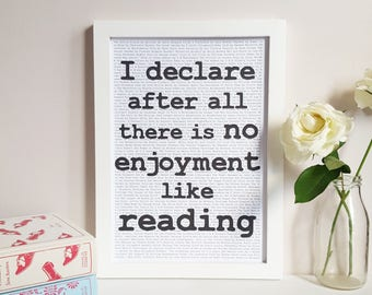 Jane Austen Reading Quote Print - Literary Wall Decor - Gift for Book Lovers - Book Quote Print - Classic Novel Art  - Reading Nook Poster