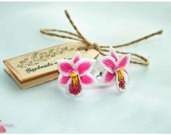 Polymer clay jewelry Pink Flower earrings Flower jewelry Romantic earrings Stud earrings Pink earrings Orchid earrings Bridesmaids earrings