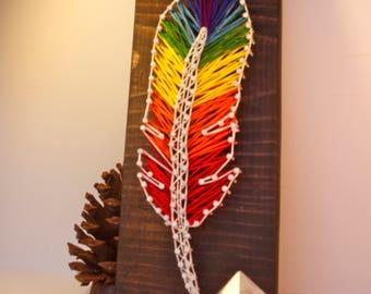 Rainbow Feather - String Art - Handmade - The Open World Tribe -