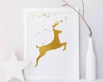 Christmas print, wall art, Christmas decor, Christmas wall art, Reindeer print, gold, glitter snow, minimalist print, farmhouse decor