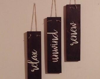 Relax Unwind Renew Reclaimed Wood Sign Trio/Bathroom Decor