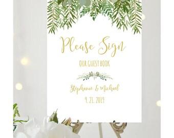 Rustic Wedding Guest Book Sign, Greenery Wedding, Printable Wedding Sign, Please Sign Our Guest Book, Botanical Wedding, #IDWS604_26C
