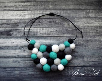 Design Necklace Felt Necklace  Ball Turquoise Necklace Wool Jewelry Winter gift for wife