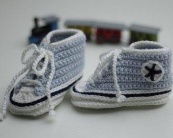 babyshoes, baby sneakers, mini-sneakers, crocheted mini-sneakers, first baby shoes, shoes for baby boys, sneakers in blue