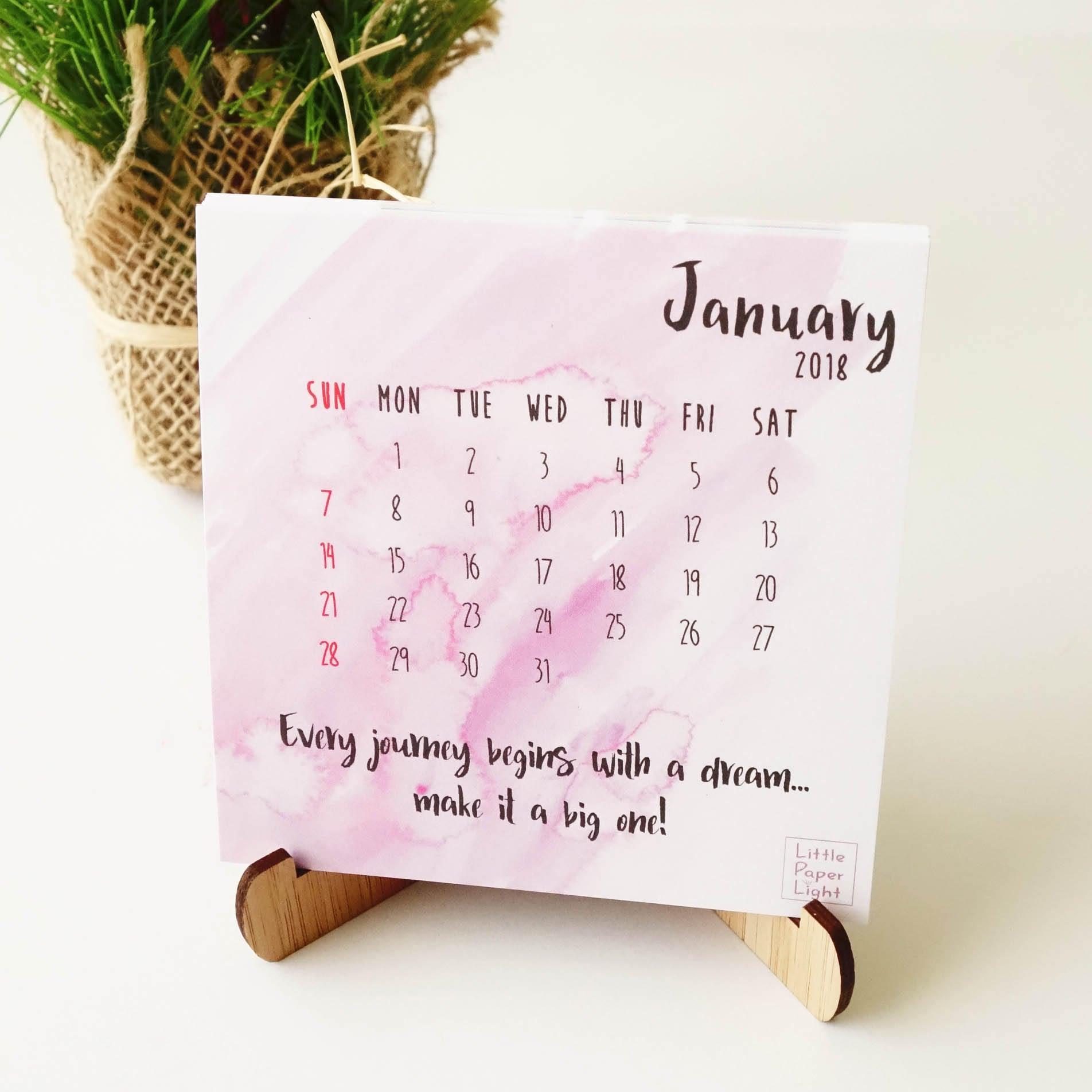Inspirational Quotes Desk Calendar 2018 : Desk calendar inspirational quotes optional display