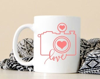 Love Camera Mug - Photographer Gift Coffee Mug - Cute Coffee Mug - Camera - Wedding Photographer Gift - Gift for Photographer