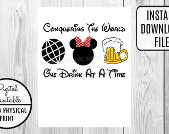 Epcot Conquering the World One Drink At A Time Iron On Disney Transfer - Minnie Mouse Disney World shirt tshirt - Beer - Instant Download