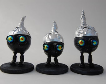 Paranoid Conspiracy Aliens Figurines, OOAK Art Toys, Polymer Clay Sculptures