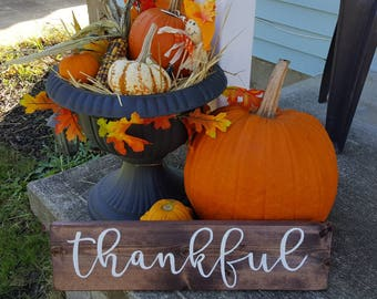 Thankful sign | READY TO SHIP | Rustic Thankful Sign | Wood Thankful Sign | Fall Thankful Sign | hand painted, wood, rustic
