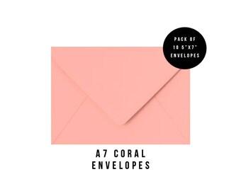 5x7 Coral Envelopes