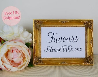 Wedding Favours Sign, Favours Please Take One, Favour Table Sign, Modern Calligraphy, Two sizes 5x7 or 8x10, White or Kraft, *FREE SHIPPING*