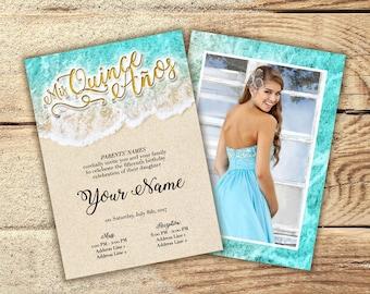 Printable Invitation - Sweet 16, Quinceañera, Beach, Sea, Ocean, Nautical, Mermaid