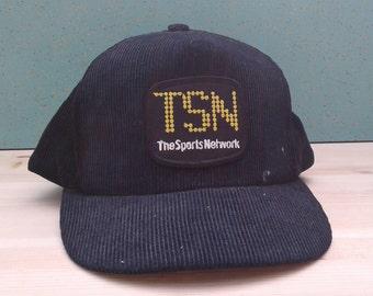 Vintage 80's TSN The Sports Network Corduroy Trucker Black and Yellow Snapback Hat