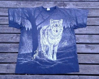 Vintage 1993 90's Lone Wolf / Wolves / All Over Print Paper Thin Made in Canada XL