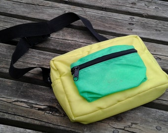 Vintage 90's Padded Fanny Pack Neon Yellow Green Black Vintage Waist Bag