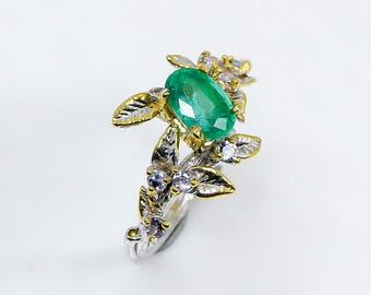 Botanical emerald ring, Jewelry gifts for mom, May Birthstone twig branch ring, Anniversary jewelry wife, emerald engagement ring leaves