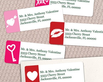 """Printable Valentine's Day Symbols Return Address Labels, Red and Pink, 30 Personalized 2 5/8"""" x 1"""" Labels, Editable PDF, Instant Download"""