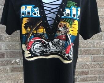 Vintage Harley Davidson Lace-Up Tee (M)