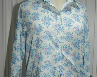 Floral Baby Blue Cotton Blouse - Custom Made